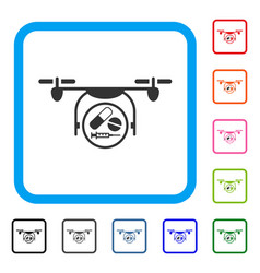 medication quadcopter framed icon vector image