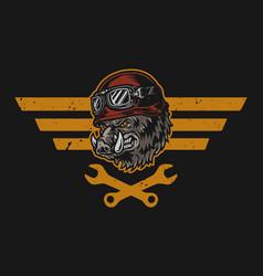 Motorcycle repair service vintage colorful emblem vector