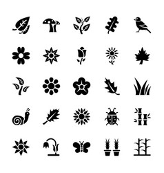 Nature glyph icons set vector