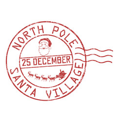 north pole santa village grunge rubber stamp vector image