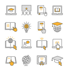 Online education flat line icon set vector
