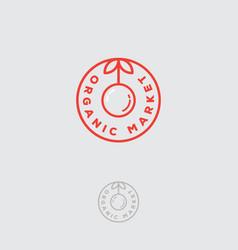 organic logo food market stamp label vector image