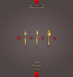Ornate cover menu with golden cutlery vector image