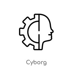 Outline cyborg icon isolated black simple line vector
