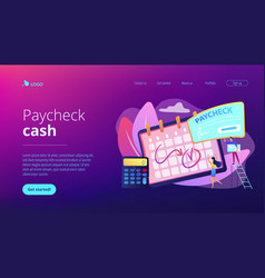 Paycheck concept landing page vector