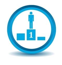 Pedestal icon blue 3d vector