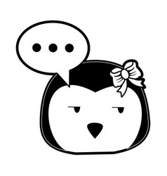 Penguin side eye and chat bubble cute animal vector