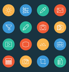 Photo icons line style set with colorless no vector