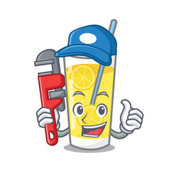 Plumber lemonade mascot cartoon style vector