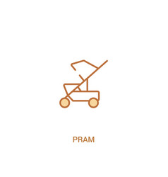 Pram concept 2 colored icon simple line element vector