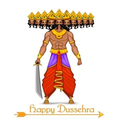 Ravana with ten heads for Dussehra vector