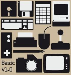 Retro computing collection vector image