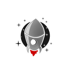rocket launch icon on white background vector image