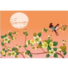 Sakura bird postcard menu vector image
