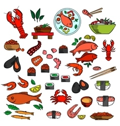 Seafood fish and delicatessen icons vector image