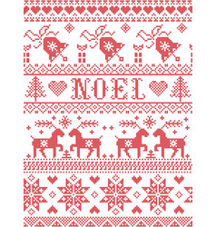 Seamless noel scandinavian with bell reindeer vector