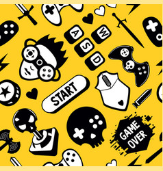 seamless pattern with game elements funny vector image