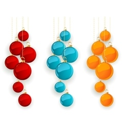 Set color merry christmas baubles vector