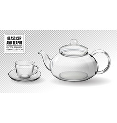 set empty glass tea cups with teapot vector image