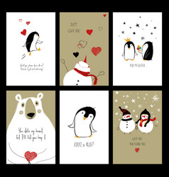 set love cards with animals vector image