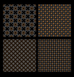 set of four geometric seamless patterns - celtic vector image