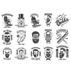 Set of vintage barber shop emblems badges and vector