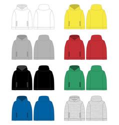 set technical sketch for men hoodie front vector image