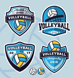 set volleyball logo template design vector image