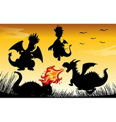 Silhouette dragon blowing fire vector