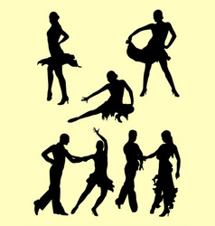 Silhouette of couple dancing salsa vector
