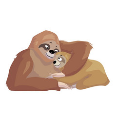Sloth mother and kid icon cartoon style vector