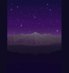 snowy mountains under the starry sky vector image