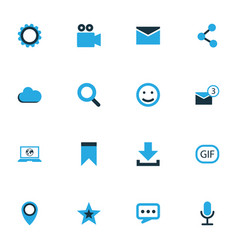 Social colorful icons set collection of animation vector