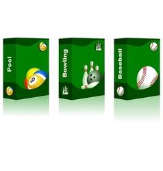 Sport box - pool bowling baseball ball vector