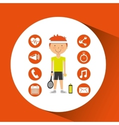 sportsman tennis racket apps icons vector image