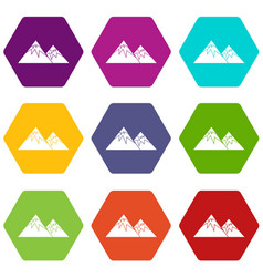 Swiss alps icon set color hexahedron vector