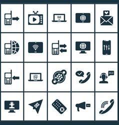 Telecommunication icons set with audio adjustment vector