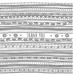 thank you card in ethnic boho ornate style vector image