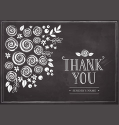 thank you card with floral background vector image