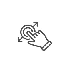 Touchscreen gesture line icon drag and drop arrow vector
