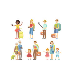 travell people characters set happy tourists vector image