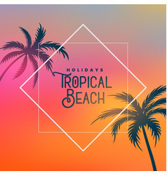 tropical beach background with palm trees vector image