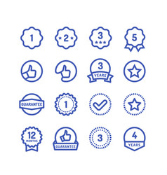 Warranty stamps line icons goods durability vector