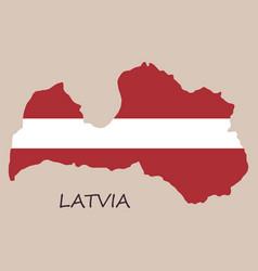 Waving fabric flag map of latvia vector