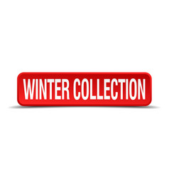Winter collection red 3d square button isolated vector