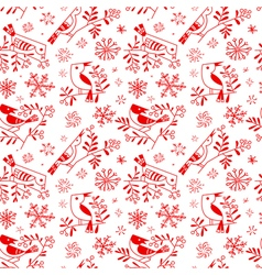 Winter seamless pattern with cute doodle birds vector image