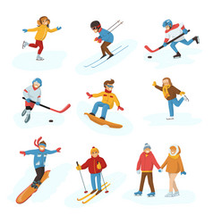Winter sport activity people games cartoon vector