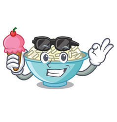 With ice cream rice bowl character cartoon vector