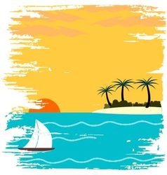 Yacht on summertime vector