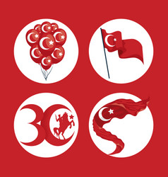 Zafer bayrami icon set vector